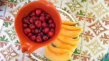 cherries and melon